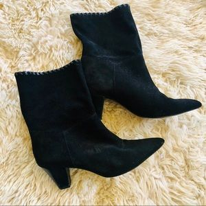 Zara black leather mid booties